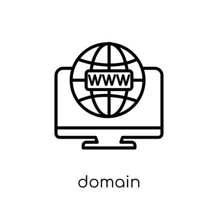 icona del dominio. Icona moderna tendenza di dominio piatto lineare di vettore su priorità bassa bianca da collezione di rete e sicurezza Internet di linea sottile, illustrazione di vettore di corsa di profilo modificabile