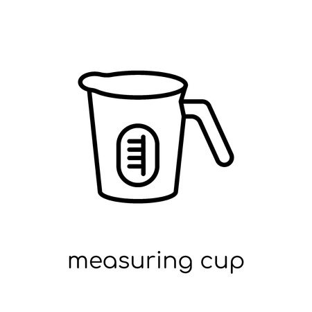 measuring cup icon. Trendy modern flat linear vector measuring cup icon on white background from thin line collection, outline vector illustration