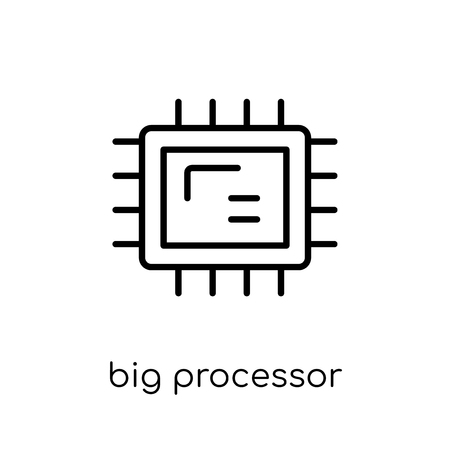 Big Processor icon. Trendy modern flat linear vector Big Processor icon on white background from thin line hardware collection, editable outline stroke vector illustration 写真素材 - 112136517