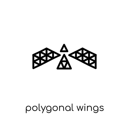 polygonal wings icon. Trendy modern flat linear vector polygonal wings icon on white background from thin line Geometry collection, outline vector illustration