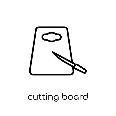 cutting board icon. Trendy modern flat linear vector cutting board icon on white background from thin line Kitchen collection, outline vector illustration