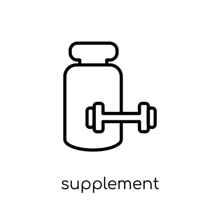 Supplement icon. Trendy modern flat linear vector Supplement icon on white background from thin line Gym and fitness collection, editable outline stroke vector illustration