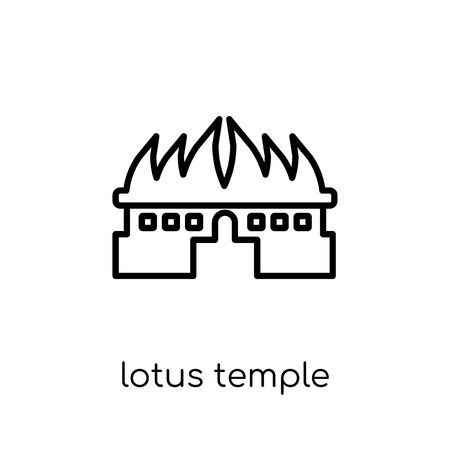 Lotus temple icon. Trendy modern flat linear vector Lotus temple icon on white background from thin line india collection, editable outline stroke vector illustration