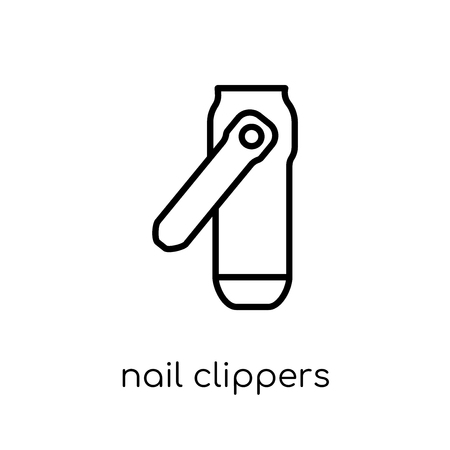 nail clippers icon. Trendy modern flat linear vector nail clippers icon on white background from thin line collection, outline vector illustration
