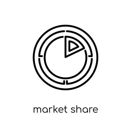 Symbol für Marktanteile. Trendiges modernes flaches lineares Vektor-Marktanteilssymbol auf weißem Hintergrund aus dünner Linie Allgemeine Sammlung, bearbeitbare Konturstrich-Vektorillustration Vektorgrafik