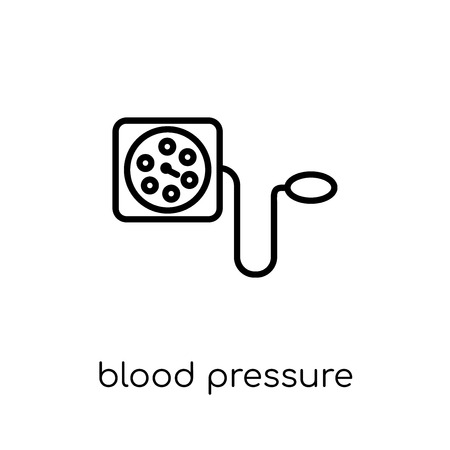 Blood Pressure Gauge icon. Trendy modern flat linear vector Blood Pressure Gauge icon on white background from thin line Health and Medical collection, editable outline stroke vector illustration