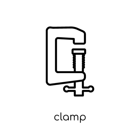 clamp icon. Trendy modern flat linear vector clamp icon on white background from thin line Industry collection, outline vector illustration 向量圖像
