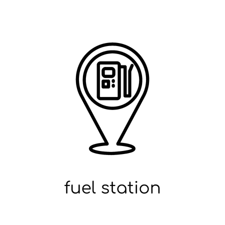 fuel station icon. Trendy modern flat linear vector fuel station icon on white background from thin line Industry collection, outline vector illustration Illusztráció