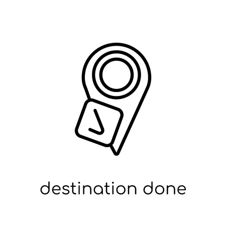 Destination done icon. Trendy modern flat linear vector Destination done icon on white background from thin line Maps and Locations collection, editable outline stroke vector illustration