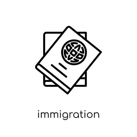 icona di immigrazione. Icona moderna tendenza di immigrazione piatto lineare di vettore su priorità bassa bianca da collezione di legge e giustizia di linea sottile, illustrazione di vettore di corsa di profilo modificabile