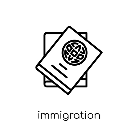 immigration icon. Trendy modern flat linear vector immigration icon on white background from thin line law and justice collection, editable outline stroke vector illustration
