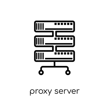 proxy server icon. Trendy modern flat linear vector proxy server icon on white background from thin line Internet Security and Networking collection, editable outline stroke vector illustration Illustration