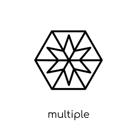 multiple triangles inside hexagon icon. Trendy modern flat linear vector multiple triangles inside hexagon icon on white background from thin line Geometry collection, outline vector illustration