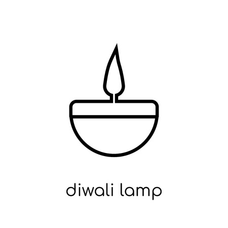 Diwali lamp icon. Trendy modern flat linear vector Diwali lamp icon on white background from thin line india collection, editable outline stroke vector illustration