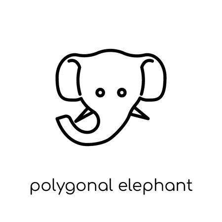 polygonal elephant icon. Trendy modern flat linear vector polygonal elephant icon on white background from thin line Geometry collection, outline vector illustration
