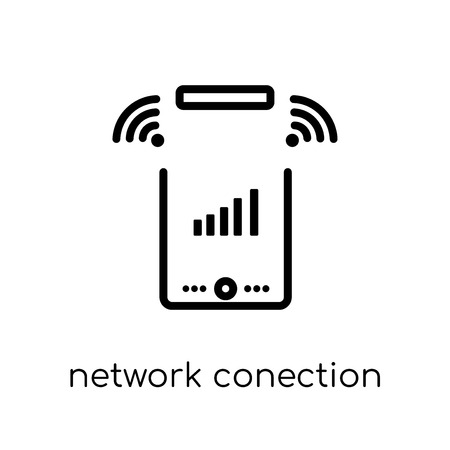 network conection icon. Trendy modern flat linear vector network conection icon on white background from thin line Internet Security and Networking collection, outline vector illustration Imagens - 112136036