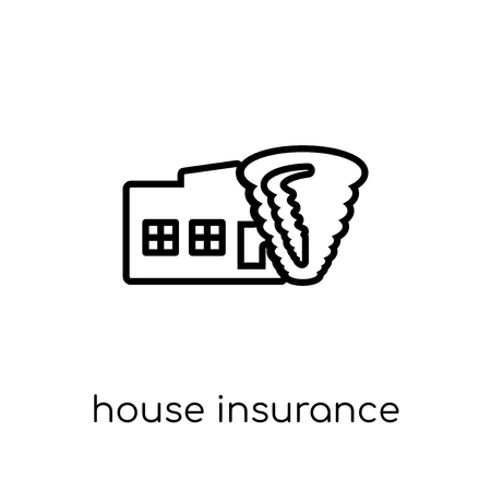 House insurance for storms icon. Trendy modern flat linear vector House insurance for storms icon on white background from thin line Insurance collection, editable outline stroke vector illustration