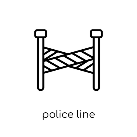 Police line icon. Trendy modern flat linear vector Police line icon on white background from thin line law and justice collection, editable outline stroke vector illustration Standard-Bild - 112135651