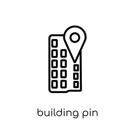 Building Pin icon. Trendy modern flat linear vector Building Pin icon on white background from thin line Maps and Locations collection, editable outline stroke vector illustration Ilustração