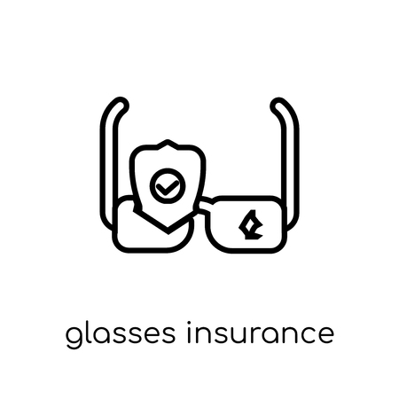 Glasses insurance icon. Trendy modern flat linear vector Glasses insurance icon on white background from thin line Insurance collection, editable outline stroke vector illustration