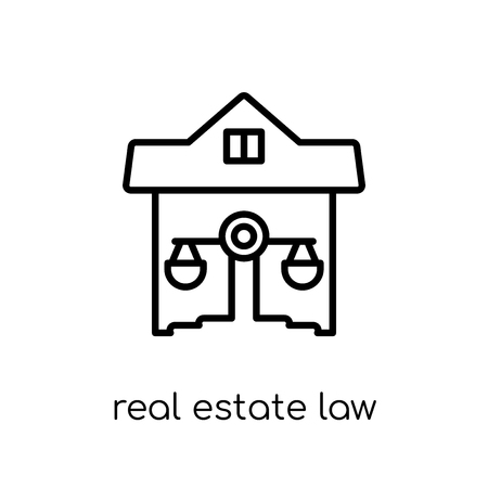 real estate law icon. Trendy modern flat linear vector real estate law icon on white background from thin line law and justice collection, editable outline stroke vector illustration