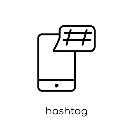 hashtag icon. Trendy modern flat linear vector hashtag icon on white background from thin line collection, outline vector illustration