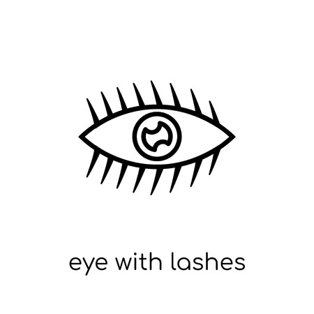 Eye with lashes icon. Trendy modern flat linear vector Eye with lashes icon on white background from thin line Human Body Parts collection, editable outline stroke vector illustration Ilustrace