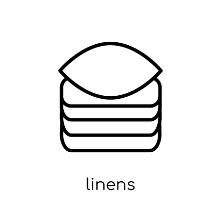 linens icon. Trendy modern flat linear vector linens icon on white background from thin line Furniture and household collection, outline vector illustration Archivio Fotografico - 111337673