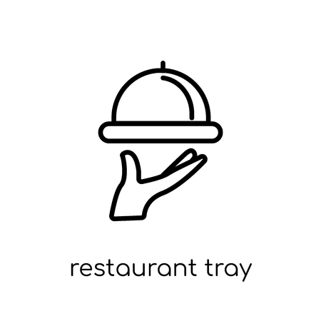 restaurant tray icon. Trendy modern flat linear vector restaurant tray icon on white background from thin line Restaurant collection, outline vector illustration Banque d'images - 112135663