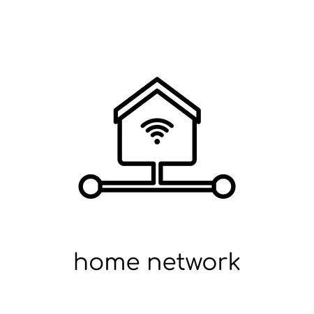 Home network icon. Trendy modern flat linear vector Home network icon on white background from thin line Internet Security and Networking collection, editable outline stroke vector illustration
