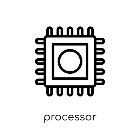Processor icon. Trendy modern flat linear vector Processor icon on white background from thin line Internet Security and Networking collection, editable outline stroke vector illustration