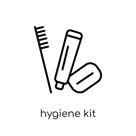 hygiene kit icon. Trendy modern flat linear vector hygiene kit icon on white background from thin line Hygiene collection, outline vector illustration