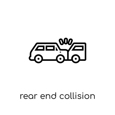 Rear end collision icon. Trendy modern flat linear vector Rear end collision icon on white background from thin line Insurance collection, editable outline stroke vector illustration Stok Fotoğraf - 112135409