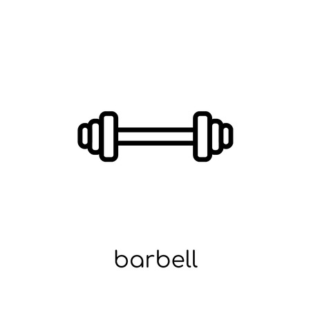 Barbell icon. Trendy modern flat linear vector Barbell icon on white background from thin line Gym and fitness collection, editable outline stroke vector illustration
