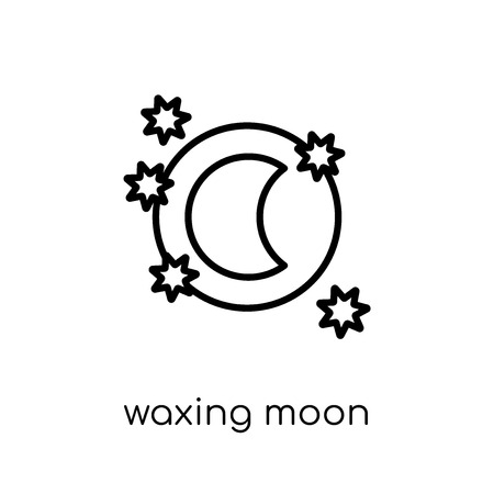 waxing moon icon. Trendy modern flat linear vector waxing moon icon on white background from thin line Weather collection, outline vector illustration
