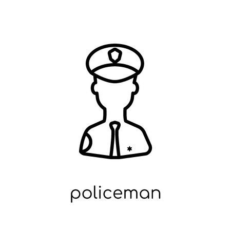 Policeman icon. Trendy modern flat linear vector Policeman icon on white background from thin line law and justice collection, editable outline stroke vector illustration