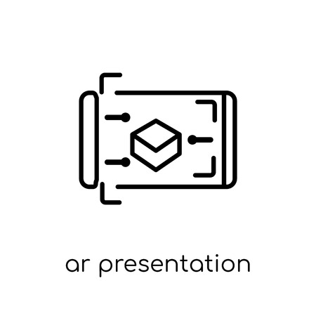 ar presentation icon. Trendy modern flat linear vector ar presentation icon on white background from thin line general collection, editable outline stroke vector illustration