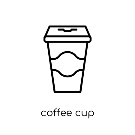 coffee cup icon. Trendy modern flat linear vector coffee cup icon on white background from thin line collection, outline vector illustration