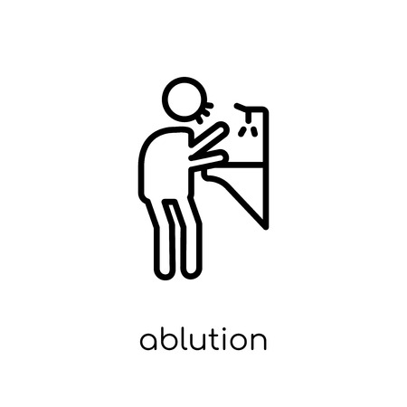 ablution icon. Trendy modern flat linear vector ablution icon on white background from thin line Hygiene collection, outline vector illustration  イラスト・ベクター素材