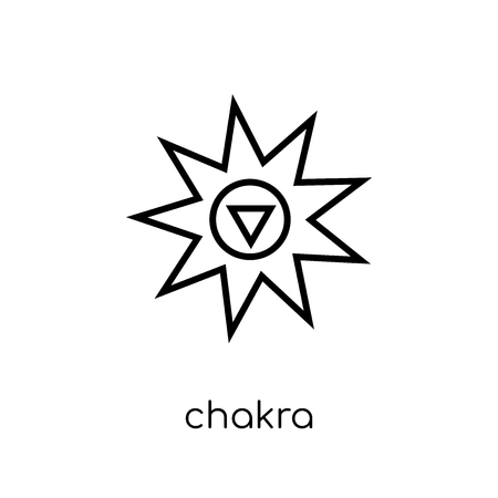 Chakra icon. Trendy modern flat linear vector Chakra icon on white background from thin line india collection, editable outline stroke vector illustration Illustration