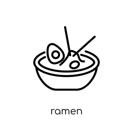 ramen icon. Trendy modern flat linear vector ramen icon on white background from thin line Restaurant collection, outline vector illustration