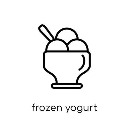frozen yogurt icon. Trendy modern flat linear vector frozen yogurt icon on white background from thin line Restaurant collection, outline vector illustration Foto de archivo - 112134130