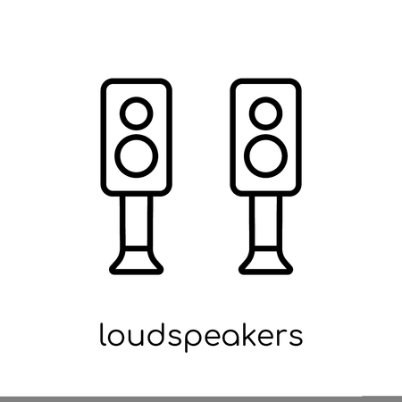 Loudspeakers icon. Trendy modern flat linear vector Loudspeakers icon on white background from thin line hardware collection, editable outline stroke vector illustration Illustration