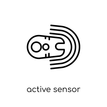 active sensor icon. Trendy modern flat linear vector active sensor icon on white background from thin line general collection, editable outline stroke vector illustration Çizim