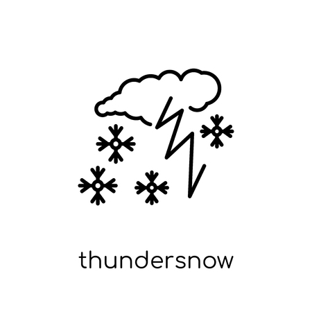 thundersnow icon. Trendy modern flat linear vector thundersnow icon on white background from thin line Weather collection, outline vector illustration  イラスト・ベクター素材