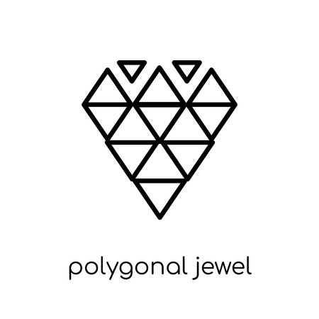 polygonal jewel icon. Trendy modern flat linear vector polygonal jewel icon on white background from thin line Geometry collection, outline vector illustration