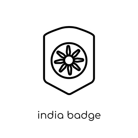 india Badge icon. Trendy modern flat linear vector india Badge icon on white background from thin line india collection, editable outline stroke vector illustration Illustration