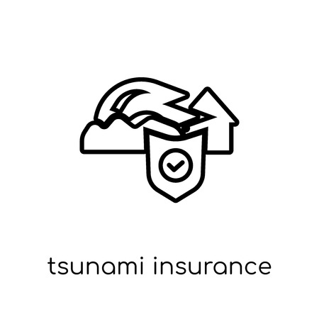 Tsunami insurance icon. Trendy modern flat linear vector Tsunami insurance icon on white background from thin line Insurance collection, editable outline stroke vector illustration