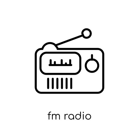 FM Radio icon. Trendy modern flat linear vector FM Radio icon on white background from thin line hardware collection, editable outline stroke vector illustration Illustration