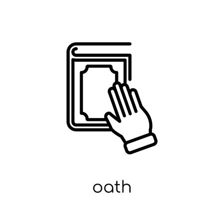 Oath icon. Trendy modern flat linear vector Oath icon on white background from thin line law and justice collection, editable outline stroke vector illustration Stock Vector - 112105860